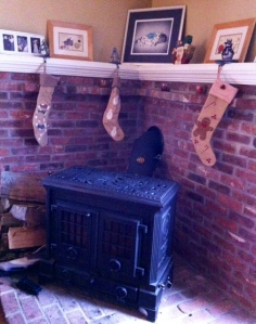 Stockings hung from the chimney