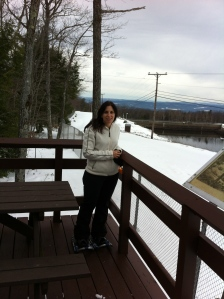 New snow pants and a view of Vermont in the distance