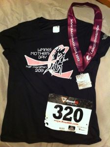 WMass Mother's Day Half Marathon Medal and Shirt