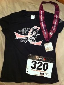 WMass Mother's Day Half Marathon Medal and Shirt