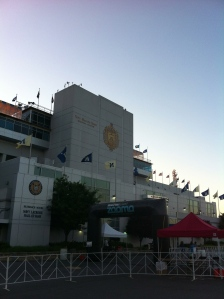 The starting area outside the stadium