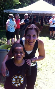 My little guy - he would rather be back swimming at the lake, but he was sweet to come see me finish.