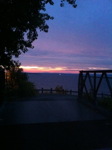 Sunrise on the horizon over Lake Champlain