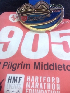 Harvard Pilgrim Half Marathon Bib and Medal