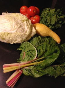 Farm Share: Napa cabbage, Swiss chard, arugula, summer squash and tomatoes