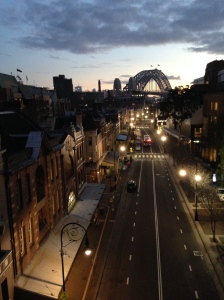 Quiet street at dawn in Sydney.