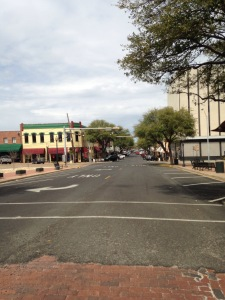 Quiet street on a Friday afternoon in downtown Marshall, TX
